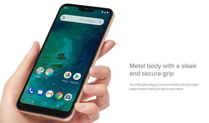 Xiaomi Mi A2 Liteはフルメタルボディーと2.5Dディスプレイで美しいデザインを実現!