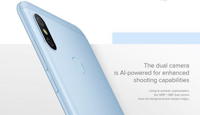Xiaomi Mi A2 Liteは1200万画素と500万画素のダブルレンズカメラを搭載!カメラはAIカメラとなっています!