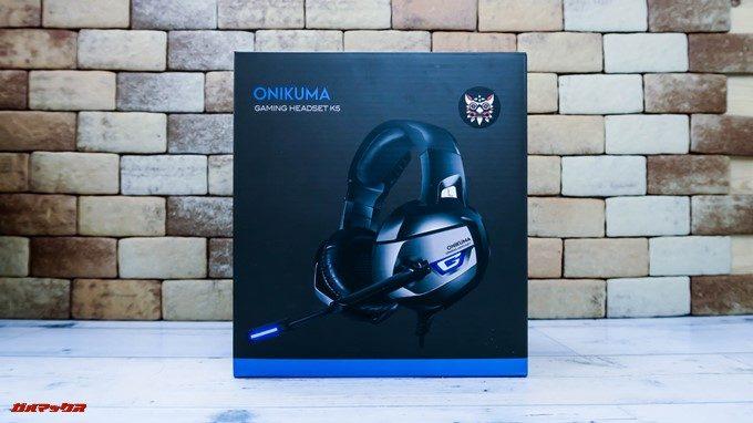 ONIKUMAゲーミングヘッドセットK5はブラックの箱に製品写真が印刷されたカッコいいパッケージ