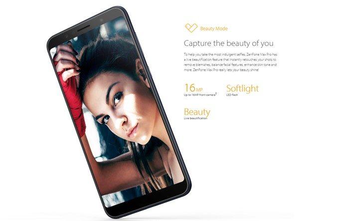 ASUS Zenfone Max Pro (M1)はインカメラに美容モードを搭載しています。