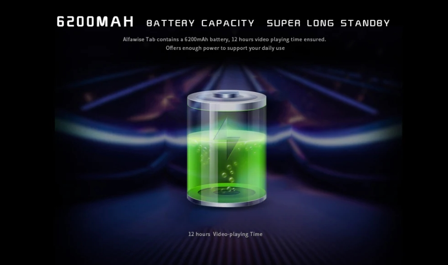 Alfawise Tabは大容量バッテリーを搭載しています。
