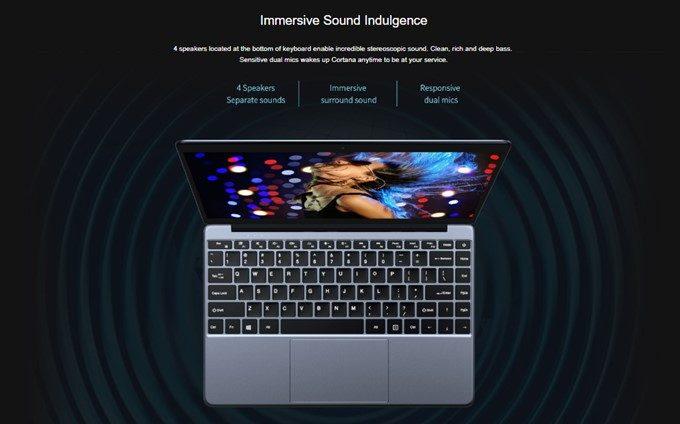 CHUWI LapBookは高音質な4スピーカーを搭載しています。