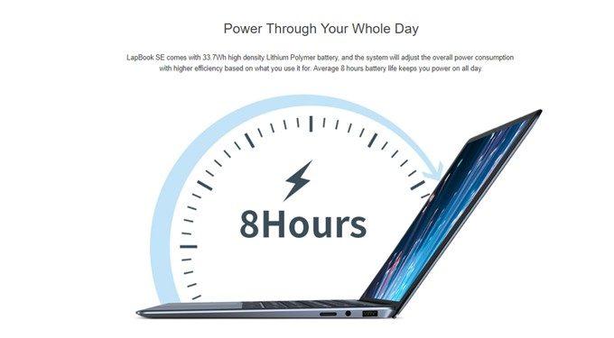 CHUWI LapBookは5000mAhのバッテリーを搭載しており、8時間の連続駆動を実現。ちょっと持ち運ぶくらいなら十分電池が持ちますね!
