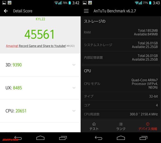 DIGNO M KYL22(Android 4.2.2)実機AnTuTuベンチマークスコアは総合が45561点、3D性能が9390点。