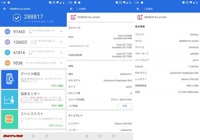Oneplus 6 8GB(Android P BETA)実機AnTuTuベンチマークスコアは総合が288817点、3D性能が126022点。