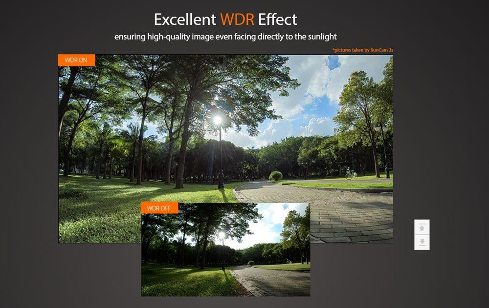 RunCam 3SはWDR対応で白飛びや黒潰れを軽減しながら撮影出来ます。