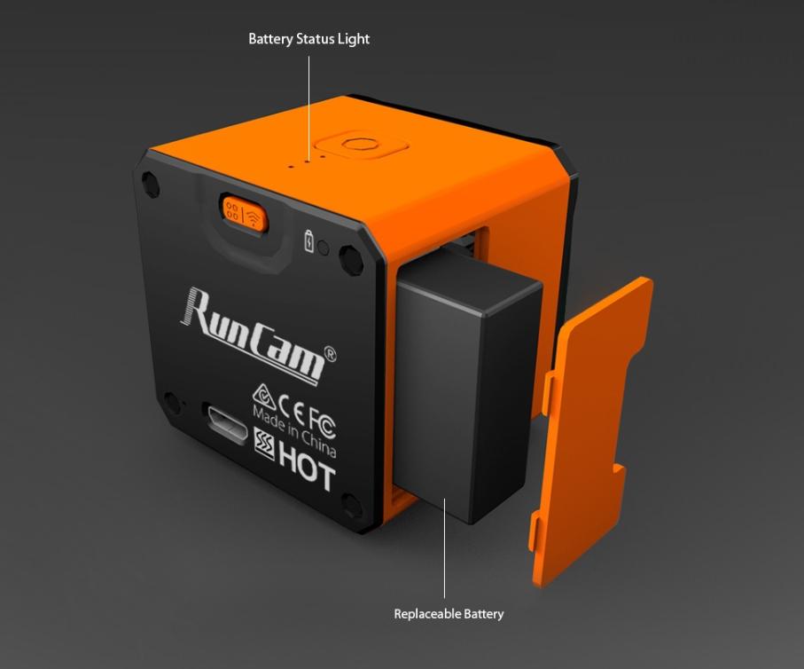 RunCam 3Sはバッテリーを取り外すことが可能です。
