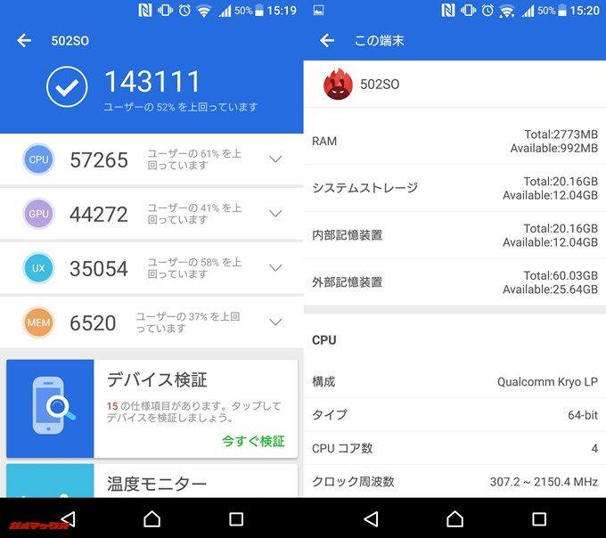 Xperia X Performance 502SO(Android 6.0.1)実機AnTuTuベンチマークスコアは総合が143111点、3D性能が44272点。