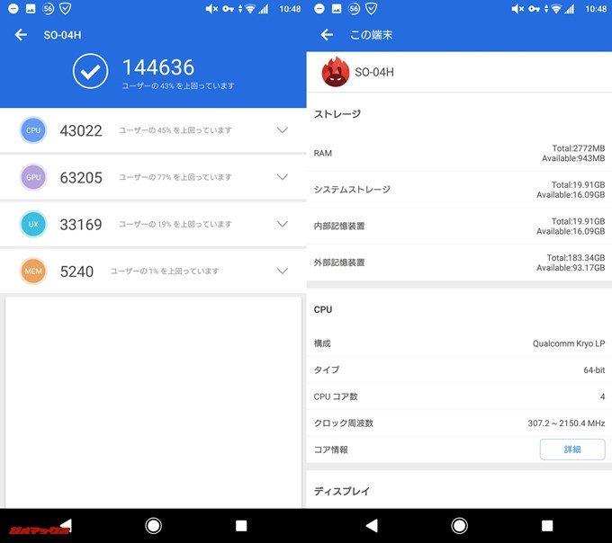 Xperia X performance SO-04H(Android 8.0)実機AnTuTuベンチマークスコアは総合が144636点、3D性能が63205点。
