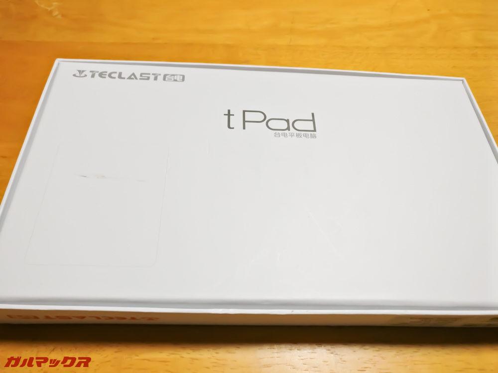 Teclast A10Sの外箱の裏側にも「tPad」の文字があります