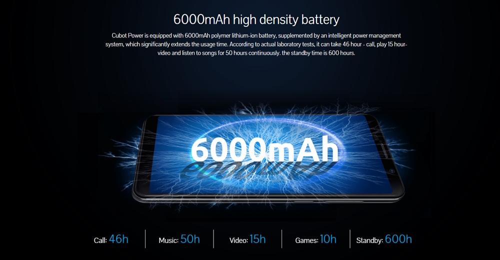 CUBOT POWERは大容量な6000mAhバッテリーを搭載しています。