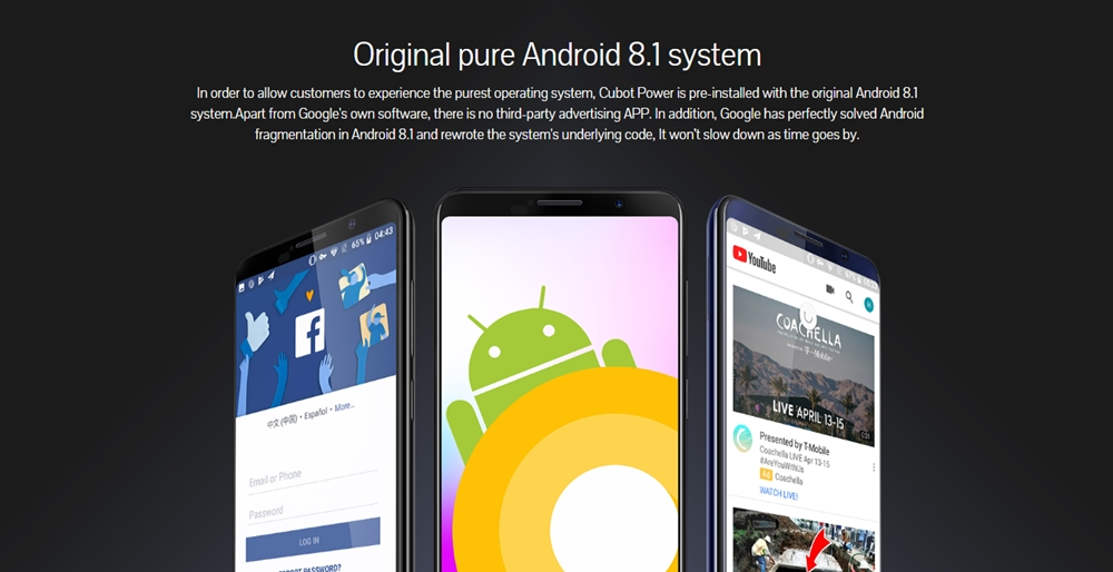 CUBOT POWERはAndroid 8.1を搭載