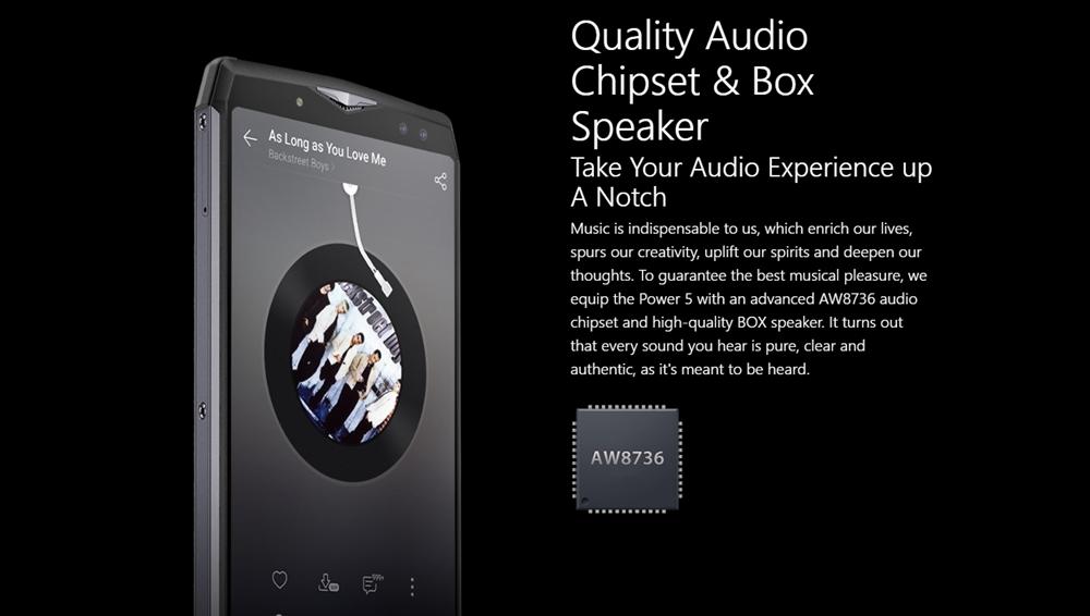 Ulefone Power 5は独立するオーディオチップの搭載やBOXスピーカーを採用することで音質にもコダワリをもって制作されています。