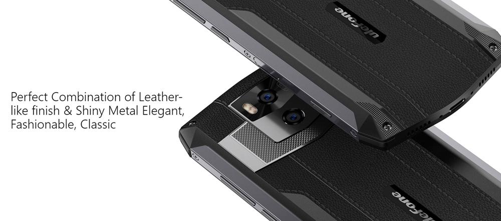 Ulefone Power 5は革調デザインを採用しておりタフなみためとは裏腹にエレガントな一面も持ち合わせています。
