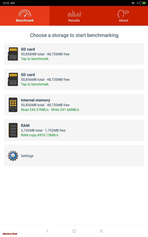 Xiaomi Mi Pad 4の結果はRead:243.57MB/s、Write:241.64MB/s