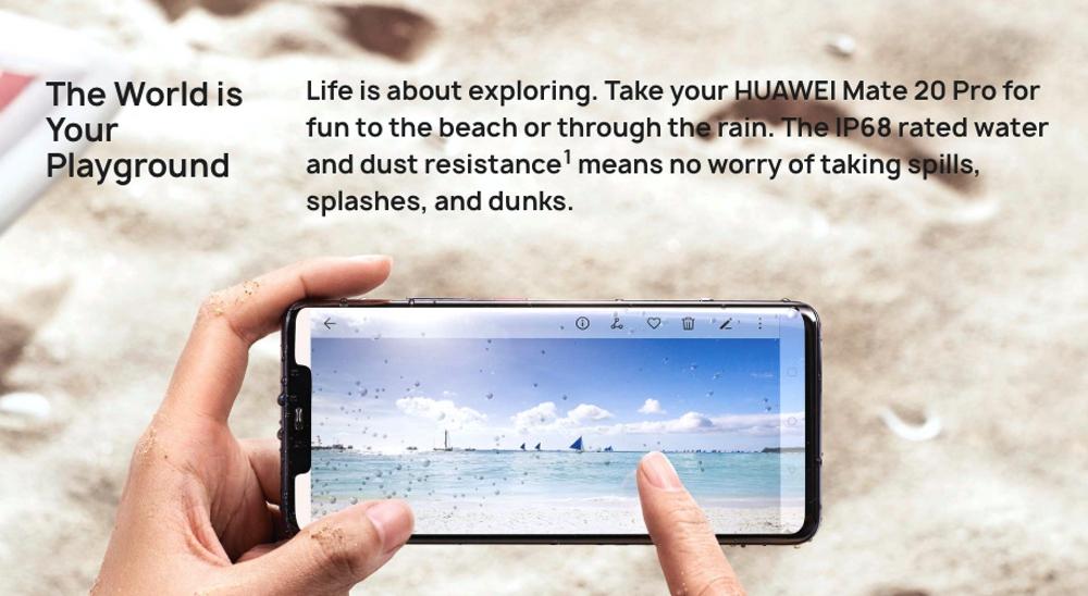 HUAWEI Mate 20 ProはIP68の防水防塵にも対応している