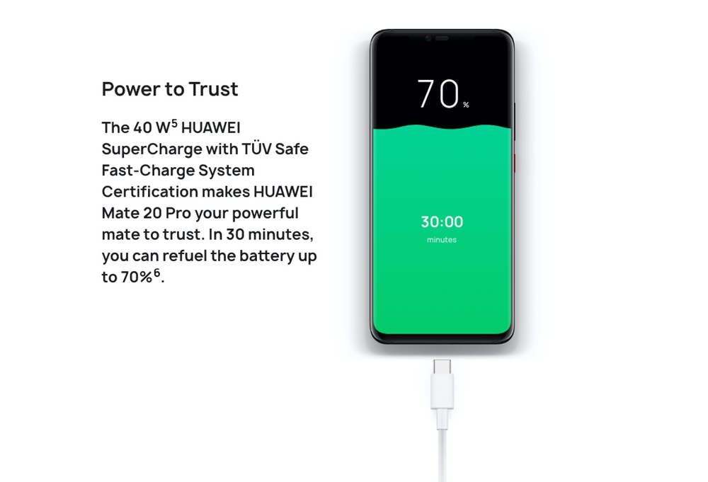 HUAWEI Mate 20 Proは40Wの充電に対応