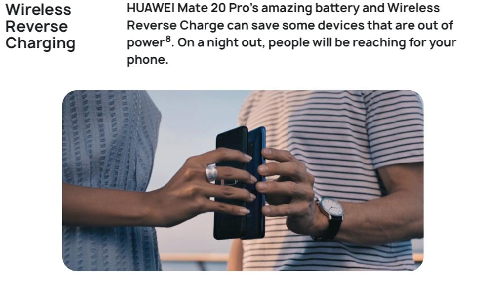 HUAWEI Mate 20 Proはワイヤレス逆充電に対応している。