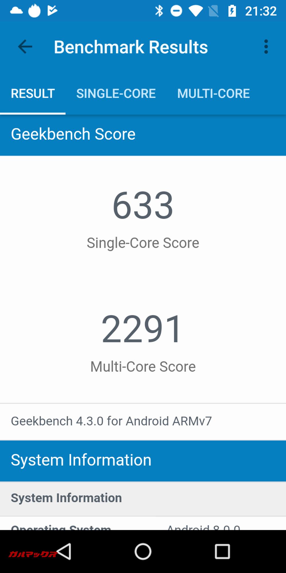 Geekbench 4のスコアはシングルコアが633点、マルチコアが2291点