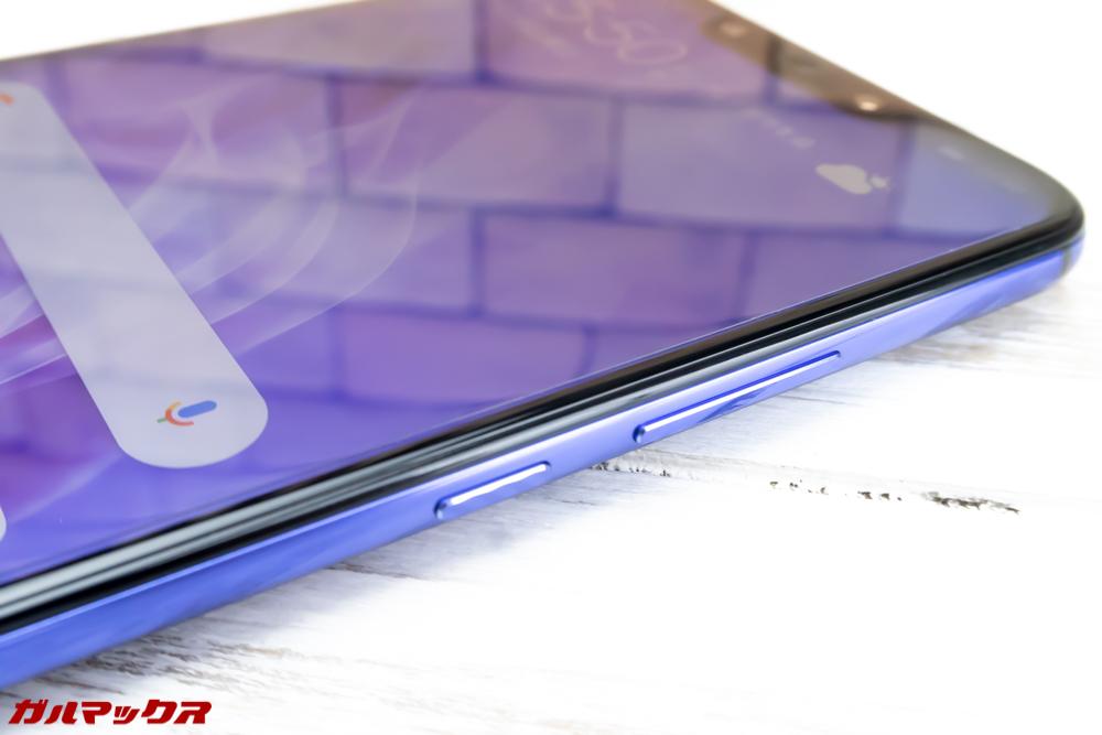 Huawei nova 3のボタン類は本体の右側面