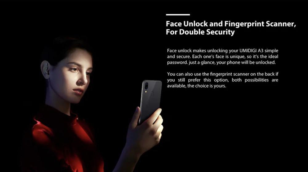 UMIDIGI A3は指紋認証以外に顔認証も利用可能