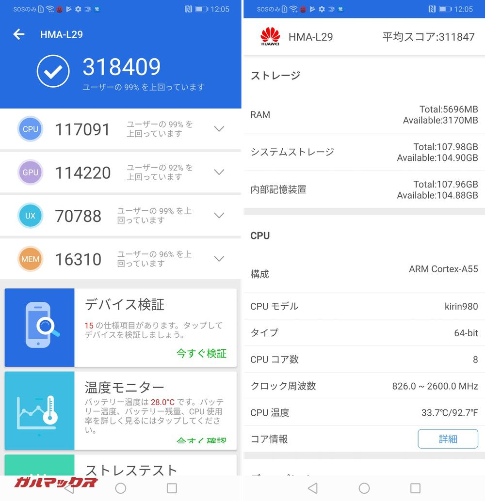 Huawei Mate 20(Android 9)実機AnTuTuベンチマークスコアは総合が318409点、3D性能が114220点。
