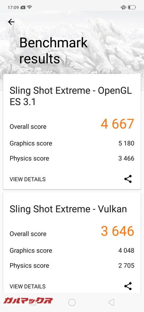 3DMarkのスコアはOpenGL ES 3.1が4667点、Vulkanが3646点でした!