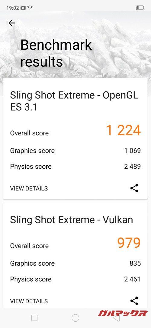3DMarkのスコアはOpenGL ES 3.1が1224点!Vulkanが979点でした!