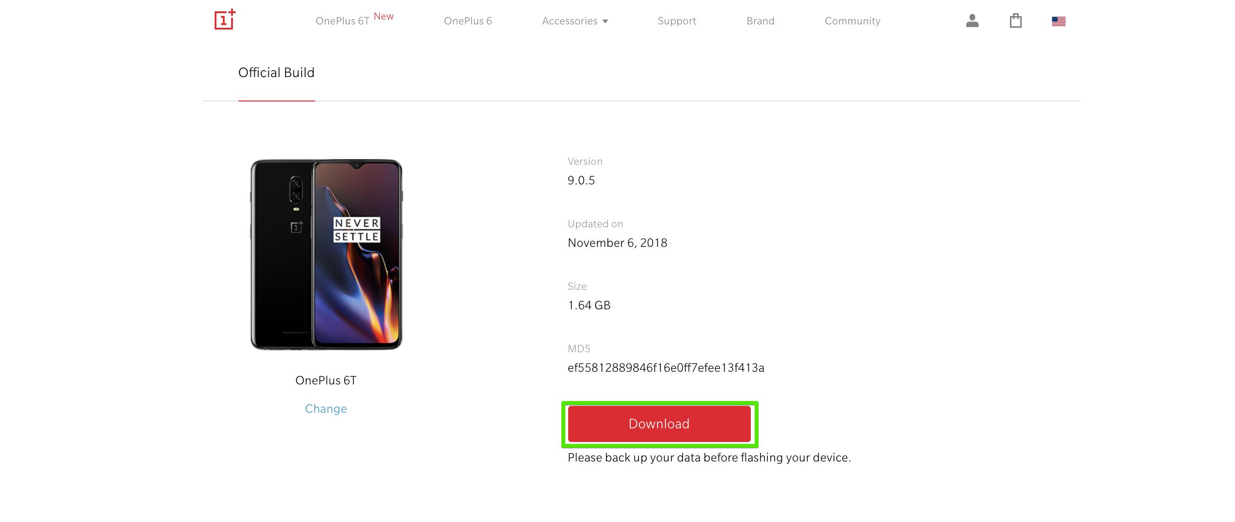 OnePlus 6Tの個別ページに入ったらダウンロードボタンを押して任意のフォルダにOSデータをダウンロードします。