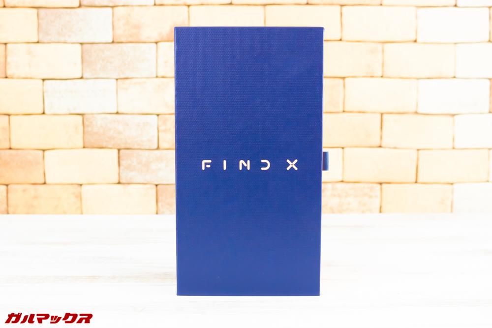 OPPO Find Xの外箱はネイビーとオレンジのカッコいいボックス