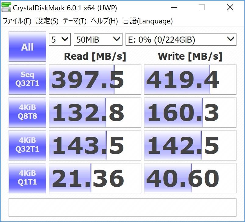 ELECOMの外付けSSD(ESD-EC0240GBK)の通信速度は理論値に近い速度が出て満足です。