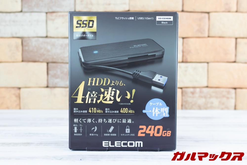 ELECOMの外付けSSD(ESD-EC0240GBK)