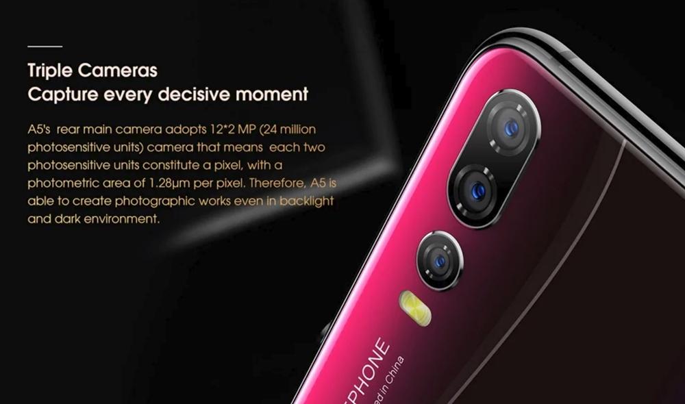 Elephone A5はトリプルカメラを採用。