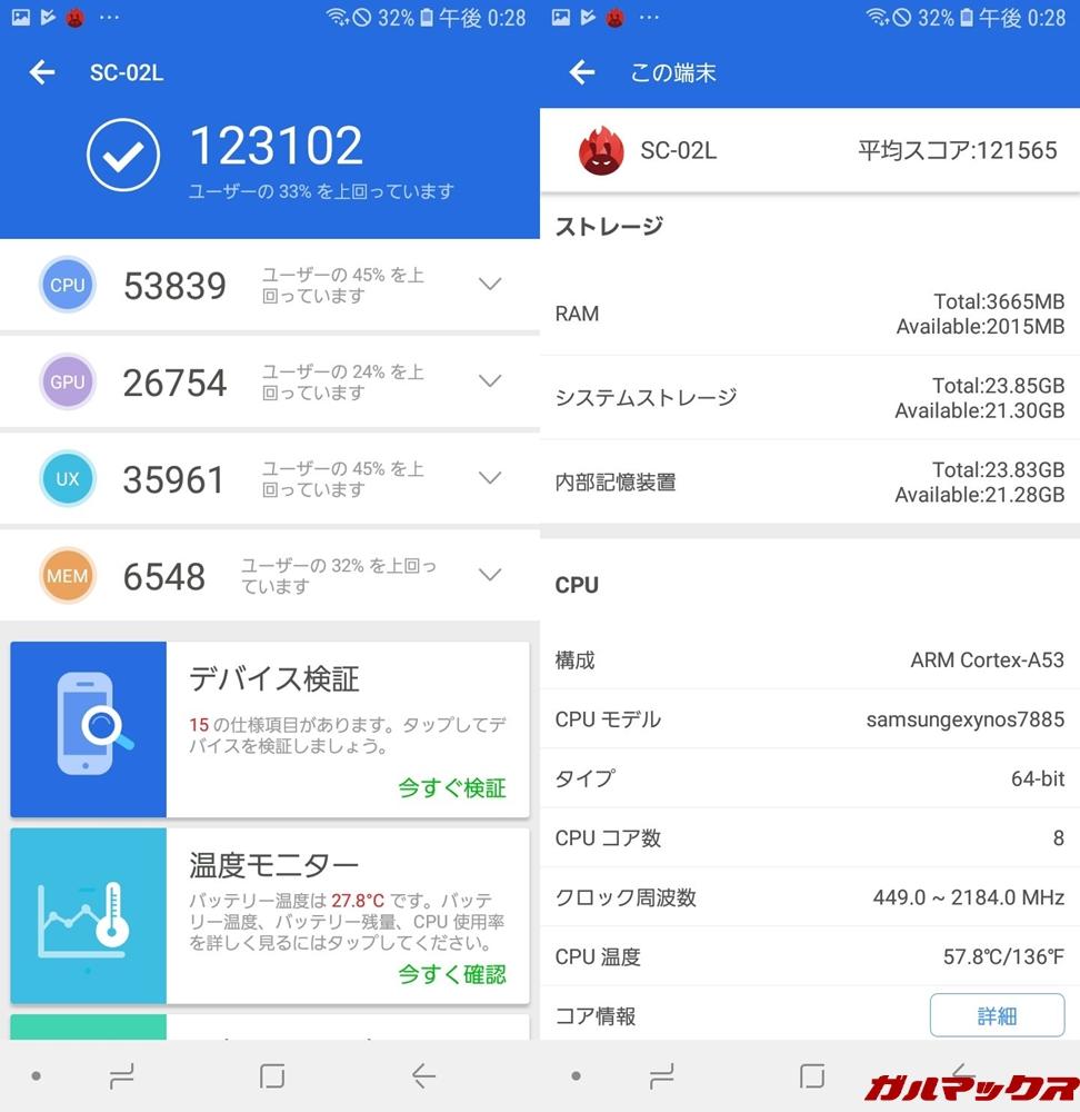 Galaxy Feel2(SC-02L)(Android 8.1)実機AnTuTuベンチマークスコアは総合が123102点、GPU性能が26754点。