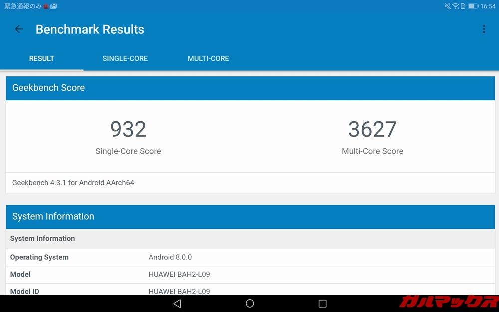 Huawei MediaPad M5 liteのGeekbench 4スコアは、シングルコア性能が932点、マルチコア性能が3627点
