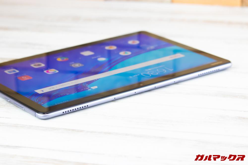 Huawei MediaPad M5 liteのスピーカーは上下に計4っつのスピーカーが搭載されています。