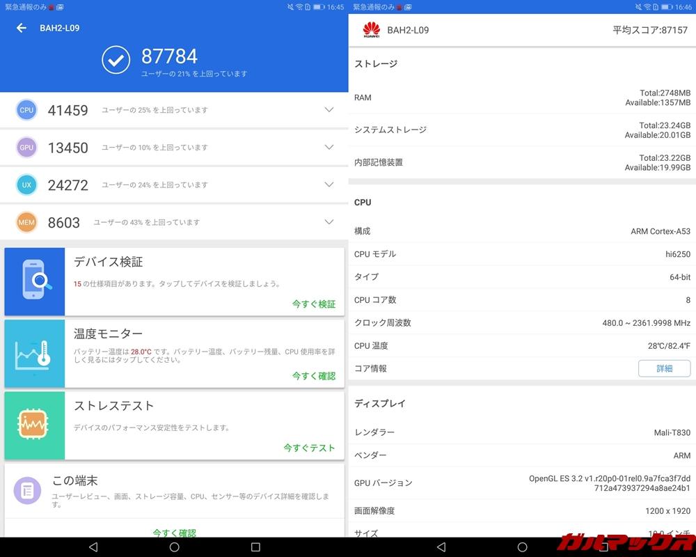 Huawei MediaPad M5 lite(LTEモデル)の実機AnTuTuスコアは、総合スコアが87784点、3D性能が13450点!