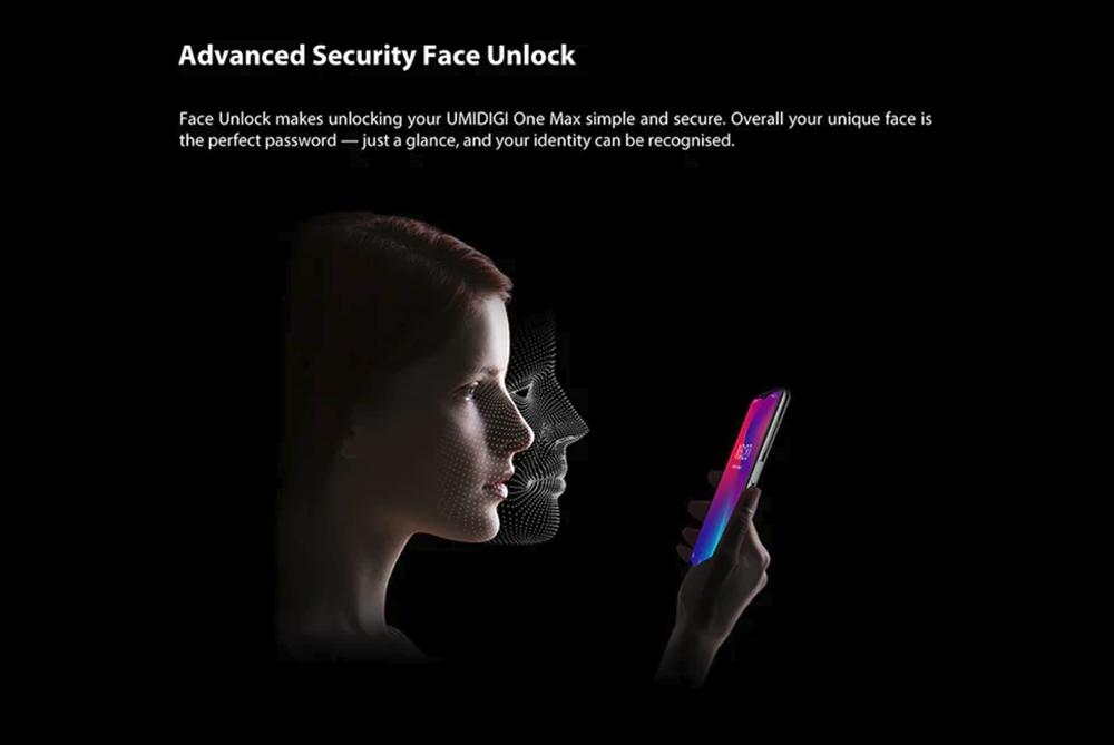 UMIDIGI One Maxは顔認証にも対応している。