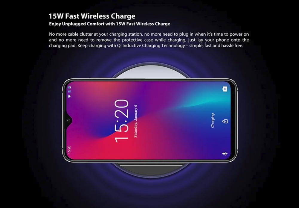 UMIDIGI One Maxは15Wと超急速ワイヤレス充電にも対応している。