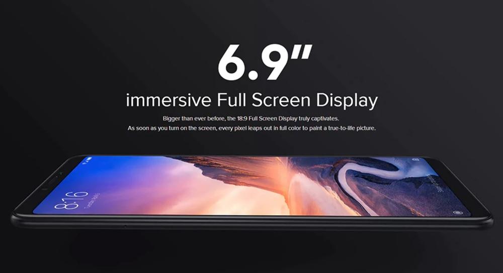 Xiaomi Mi Max 3は6.9型ディスプレイを搭載。