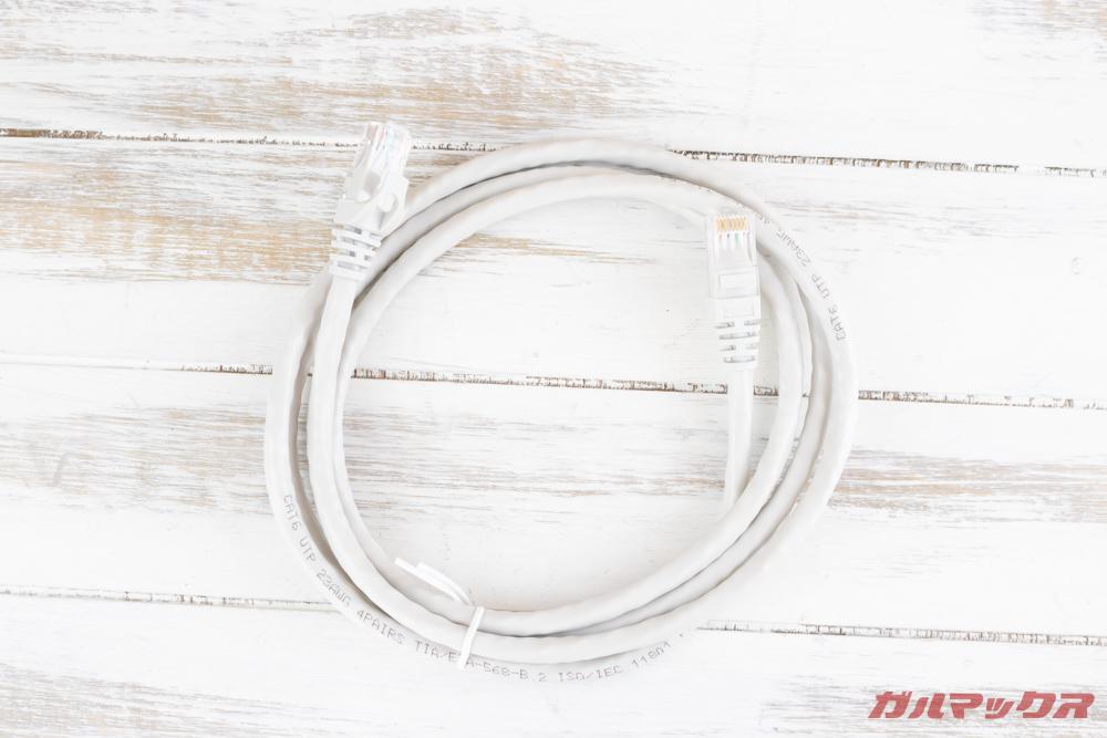 TerraMasterF2-221はLANケーブルが1本付属。デュアルLANを利用するにはもう一本必要です。