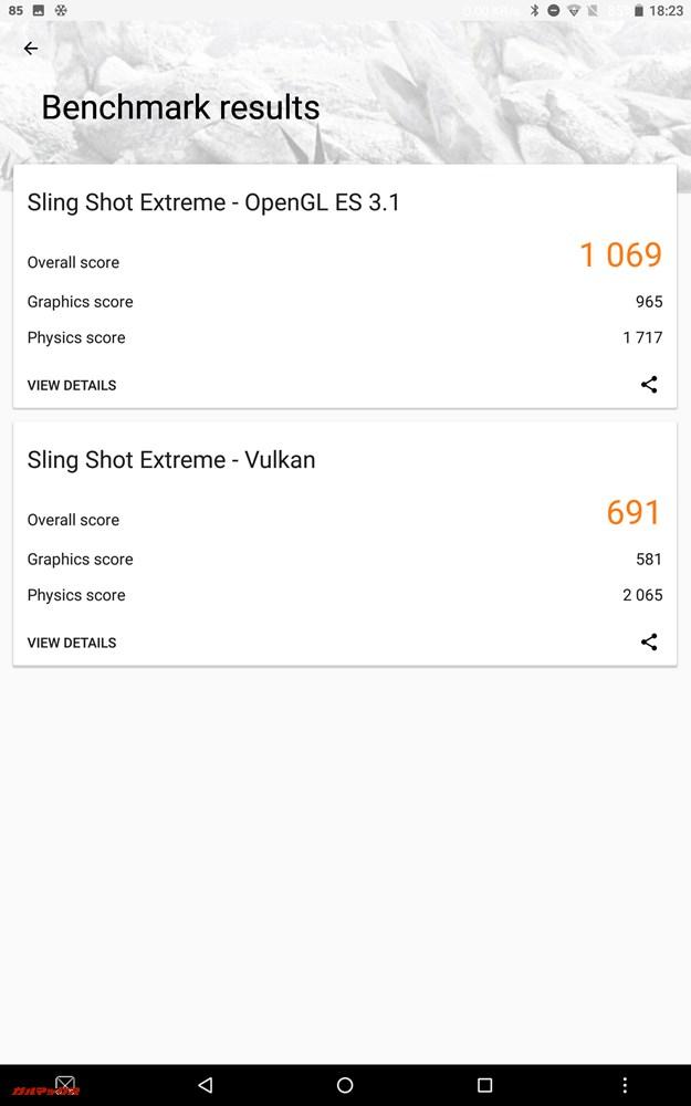 Sling Shot ExtremeのスコアはOpen GL ES 3.1が1069点、Vulkanが691点。