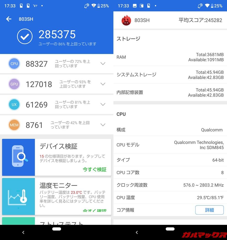 AQUOS R2 Compact(Android 9 Pie)実機AnTuTuスコアは、総合スコアが285375点、3Dスコアが127018点!