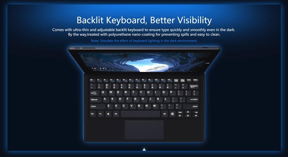 CHUWIUbookのキーボードはドッキングタイプでバックライトを搭載しています。