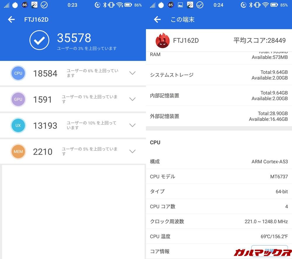FREETEL Priori 4(Android 7.0)実機AnTuTuベンチマークスコアは総合が35578点、3D性能が1591点。