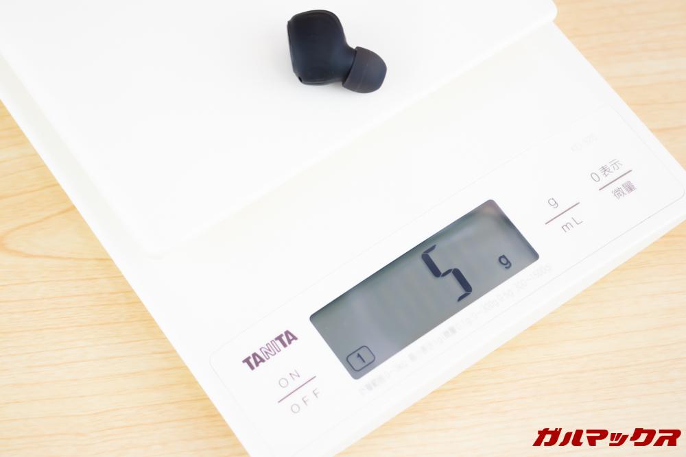 Fozento FT16の重量は片側5gで両方合わせて10gです。