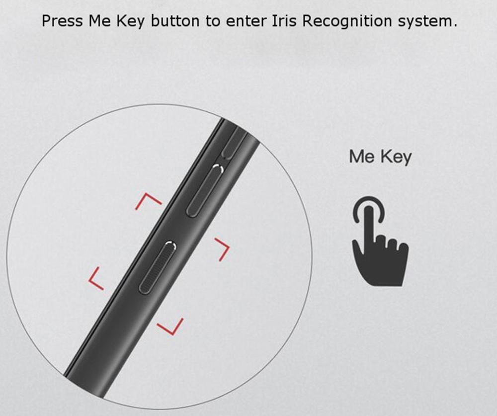 GOME U7の虹彩認証は端末側面のMy Keyを押すことで利用可能となります。