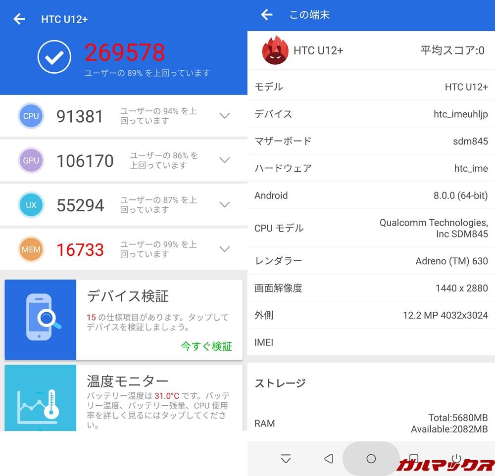 HTC U12+(Android 8.0)実機AnTuTuベンチマークスコアは総合が269578点、3D性能が106170点。