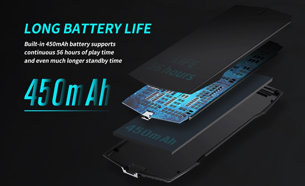 MUJA SMART TOUCH PADは450mAhのバッテリーを搭載しており36時間の連続プレイが可能です。