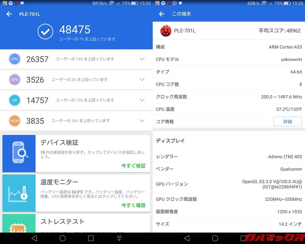 MediaPad T2 7.0 Pro(Android 5.1)実機AnTuTuベンチマークスコアは総合が48475点、3D性能が3526点。